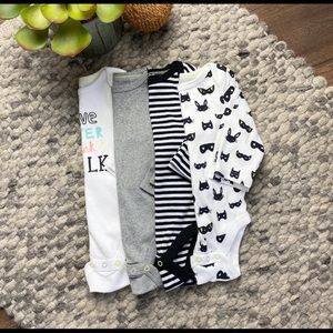 Cloud Island solid/graphic long sleeve onesies 4pk